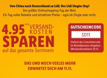 Lidl: Singles' Day mit Gratis-Versand und Extra-Bonus am Sonntag