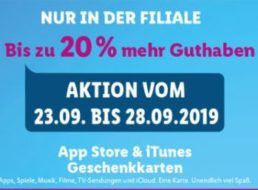 Lidl: Bis zu 20 Prozent iTunes-Guthaben geschenkt