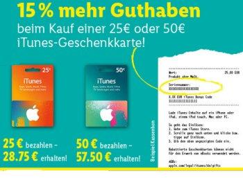 Lidl: 15 Prozent iTunes-Guthaben geschenkt bis Samstag