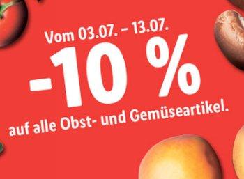 Lidl: 10 Prozent Rabatt auf alle Obst- und Gemüseartikel