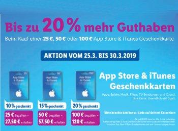 Lidl: Bis zu 20 Euro geschenkt beim Kauf von iTunes-Guthabenkarte