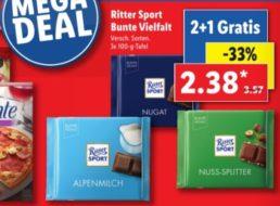 """Lidl: Drei Tafeln """"Ritter Sport"""" zum Preis von zweien"""