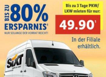 Lidl: PKW / LKW bei Sixt zum Dreitagespreis von 49,90 Euro