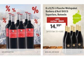 Lidl: Weinpakete mit 20 Prozent Rabatt und Gratis-Versand