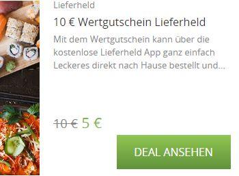 Lieferheld-Rabatt von fünf Euro