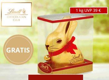 Gratis: Lindt-Goldhase mit 1 Kilo-Gewicht für Neukunden des Schokoladenclubs