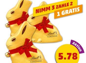Penny: Drei Goldhasen von Lindt für zusammen 5,78 Euro