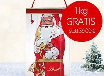Gratis: Lindt-Weihnachstmann mit einem Kilo Gewicht zur Schokoladenbox geschenkt