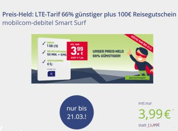 Knaller: LTE-Flat mit Freiminuten / -SMS dank Holidaycheck-Gutschein komplett gratis