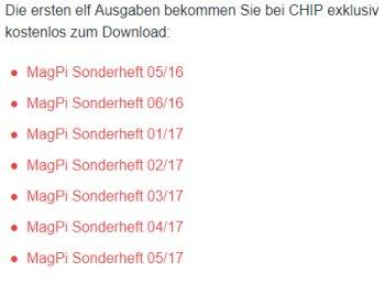 """Chip: Elf Ausgaben von """"MagPi"""" zum Gratis-Download"""