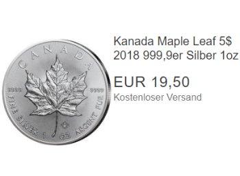 """Ebay: Silbermünze """"Maple Leaf"""" zum Bestpreis von 19,50 Euro frei Haus"""