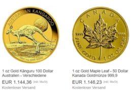 Ebay: Goldmünze Maple Leaf für 1146,23 Euro – mit Option auf Extra-Rabatt