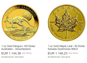 Ebay: Goldmünze Maple Leaf für 1146,23 Euro - mit Option auf Extra-Rabatt