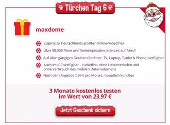 Gratis: Maxdome 3 Monate zum Nulltarif via Heise-Adventskalender