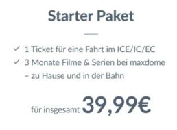 Maxdome: Bahnticket mit Drei-Monats-Videoflatrate für 39,99 Euro