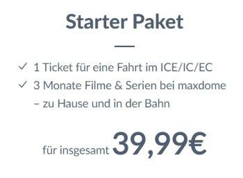 Maxdome: Bahnticket mit Drei-Monats-Flatrate für 39,99 Euro