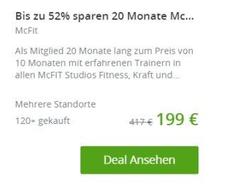 McFit: Mitgliedschaft für 20 Monate mit automatischem Ende für 199 Euro