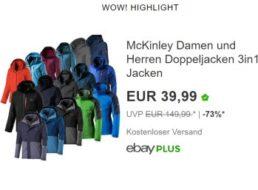 McKinley: 3in1-Jacken mit Innenjacke und wasserdichter Hülle für 39,99 Euro frei Haus