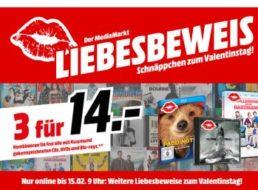 Mediamarkt: Drei DVDs, Blu-rays oder CDs nach Wahl für 14 Euro
