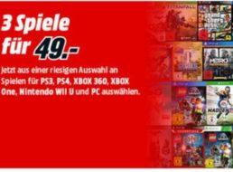Mediamarkt: 3 Spiele nach Wahl für zusammen 49 Euro, einzeln bis zu 63 Euro
