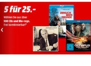 Mediamarkt: Fünf Blu-rays oder CDs nach Wahl für 25 Euro