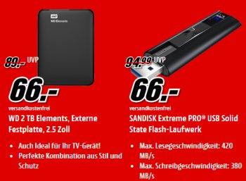 Mediamarkt: Externe Festplatte mit zwei TByte für 66 Euro frei Haus