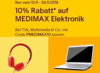 Medimax: 10 Prozent Rabatt auf Elektronik und Multimedia via Ebay