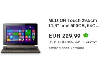 Ebay: Convertible Medion Akoya P2214T Touch für 229,99 Euro frei Haus