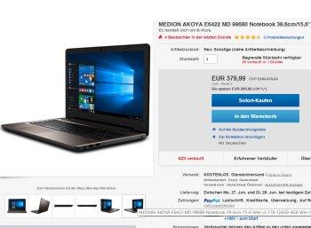 Medion-Notebook: Akoya E6422 mit 128 GByte SSD für 379,99 Euro