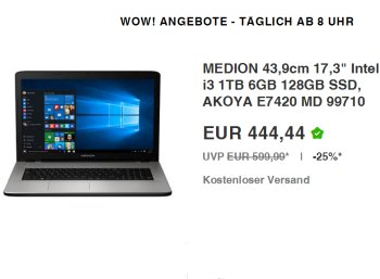 Ebay: Medion Akoya E7420 mit 128 GByte SSD und 17-Zoll-Display für 444,44 Euro