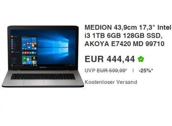 Ebay: Medion Akoya E7420 MD 99710 mit 128 GByte SSD für 444,44 Euro frei Haus