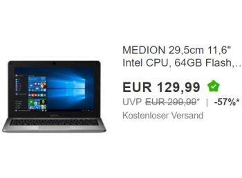 Ebay: Sub-Notebook Medion Akoya S2218 als B-Ware für 129,99 Euro