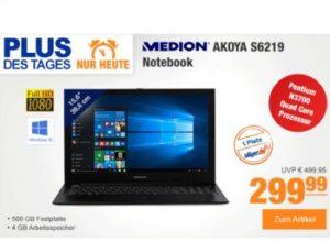 Plus: Medion-Notebook mit 500 GByte SSHD für 299 Euro frei Haus