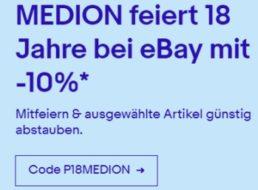 Ebay: 10 Prozent Rabatt auf über 50 Medion-Artikel bis Mittwoch