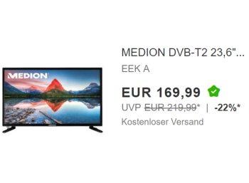 Ebay: Medion-TV mit DVB-T2 und integriertem DVD-Player für 169,99 Euro frei Haus