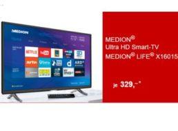 Aldi-Süd: Ultra-HD-TV Medion Life X16015 mit DVB-T2 und WLAN für 329 Euro