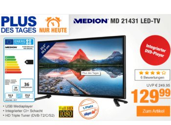 Plus: Full-HD-TV mit Triple-Tuner und DVD-Player für 129,99 Euro