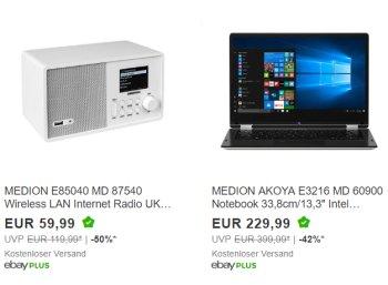 Medion: Sale bei Ebay mit Schnäppchen ab 9,99 Euro frei Haus