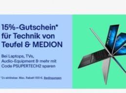 Ebay: 15 Prozent Rabatt auf Artikel von Teufel und Medion