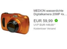 Medion: Wasserdichte Digicam mit 20 Megapixeln für 59,99 Euro