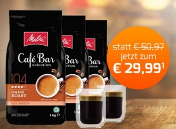 "Melitta: Drei Kilo Kaffeebohnen ""Bar Selection"" inkl. 2 Gläsern für 29,99 Euro"