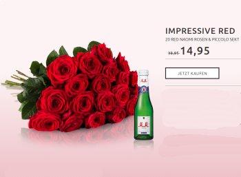 Miflora: 20 roten Rosen plus Piccolo für 19,90 Euro mit Lieferung