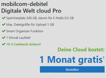 Knaller: Cloud-Angebot mit Gratis-Monat und 10 Euro Cashback