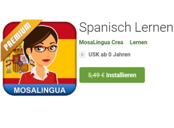 Gratis: MosaLingua Premium Spanisch für 0 statt 5,49 Euro