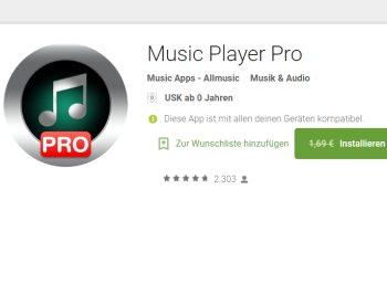 Gratis: Music Player Pro mit Top-Bewertungen für 0 Euro