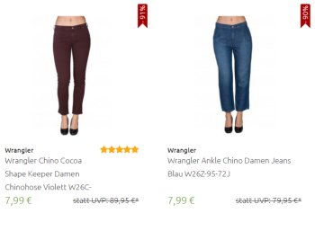 Mustang: Jeans und Shorts ab 7,99 Euro frei Haus bei Outlet46