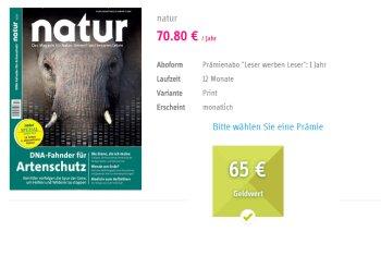 """Gratis: Jahresabo """"natur"""" mit 20 Cent Gewinn frei Haus"""