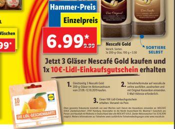 Lidl: 10 Euro Cashback beim Kauf von drei Gläsern Nescafé