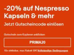 Ebay: 20 Prozent Rabatt auf Nespresso-Produkte für einen Tag