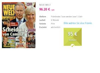 """""""Neue Welt"""": 52 Hefte für je 2,3 Cent frei Haus dank Prämie"""